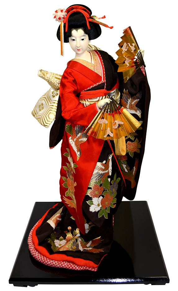 Japanese Traditional Doll With Two Folding Fans In Her