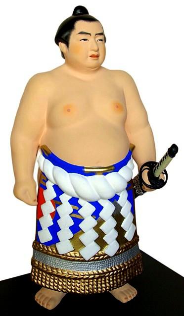 Sumo Wrestler with katana sword, Japanese Hakata clay