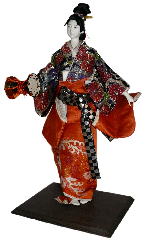 Japanese Antique Doll Of A Dancer Of A Girl With Small