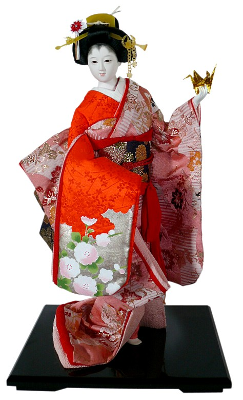 Japanese Traditional Doll Of A Young Girl With Origami In Her Hand Japanese Dolls Collection