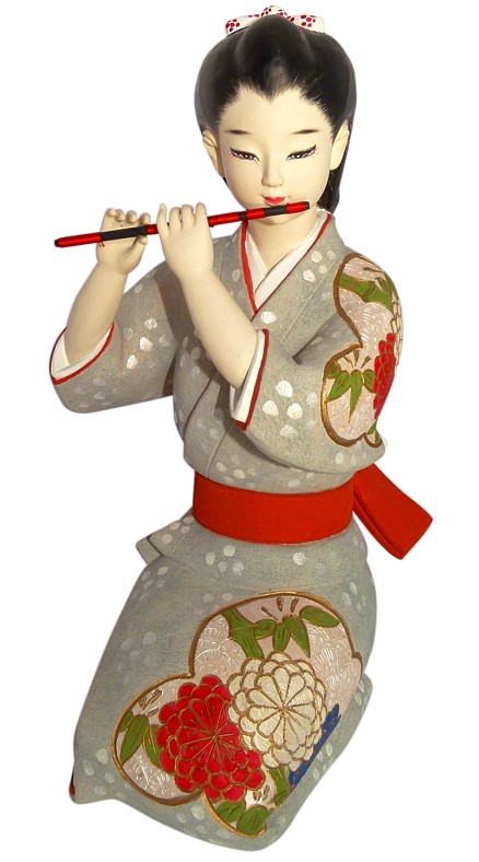 Girl Playing Traditinal Flute Japanese Hakata Doll