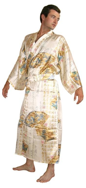 White Kimono Men Man s silk kimono  whiteWhite Kimono Ghost