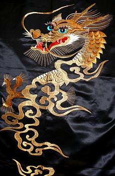 japanese mans silk embroidered kimono with dragon image