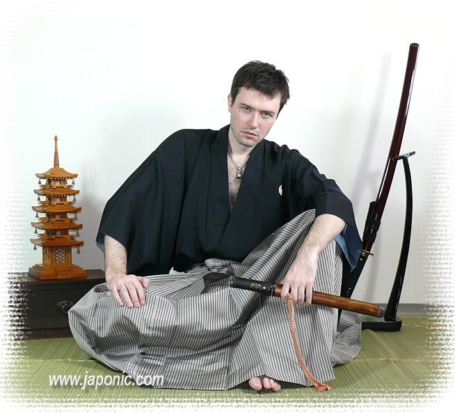 Clothes For Japanese Martial Arts Black Silk Kimono And Hakama