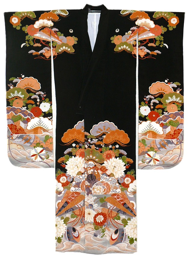 Japanese Antique Hand Painted Silk Kimono 1910 20 S