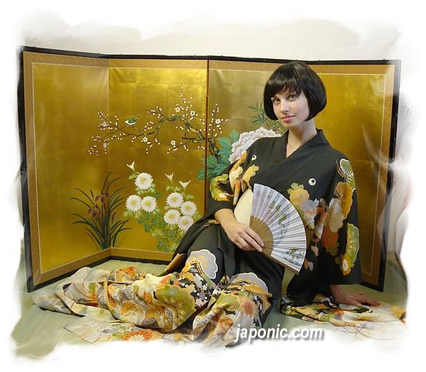 Japanese Antique Hand Painted Silk Kimono 1910 20 S