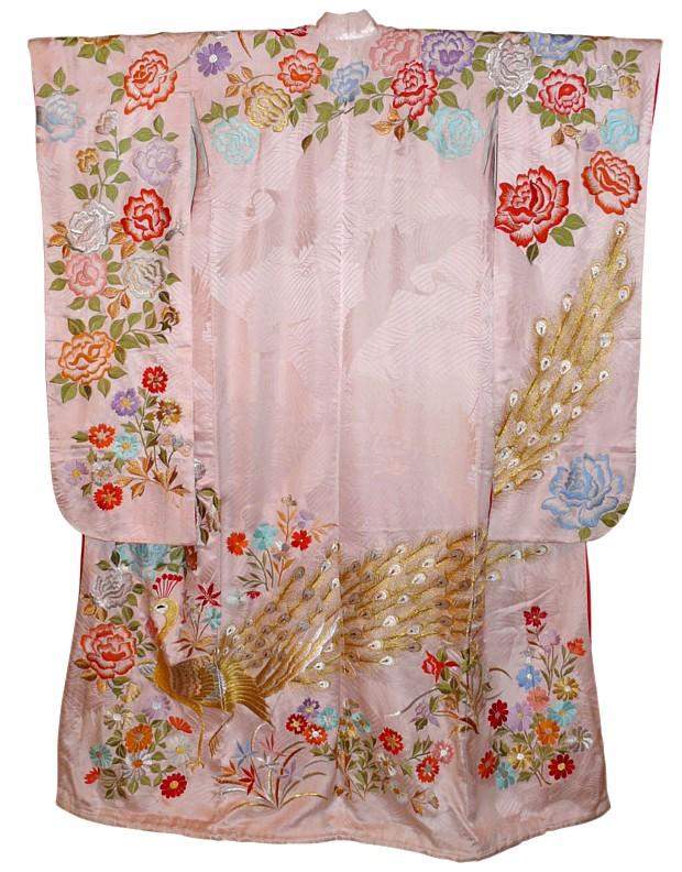 Japanese Embroidred Antique Silk Kimono 1950u0026#39;s. Japanese Wedding Kimonos Collection. The ...